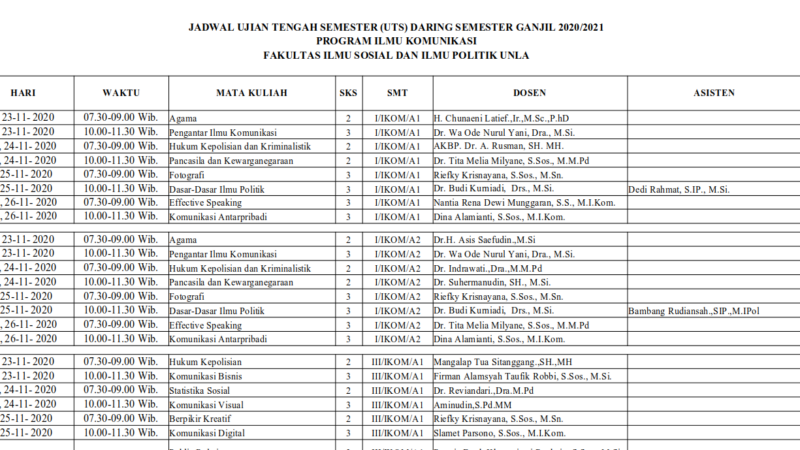 Jadwal UTS Semester Ganjil 2020/2021