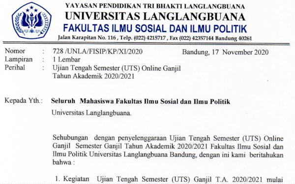 Pemberitahuan Pelaksanaan UTS FISIP Online Ganjil Tahun Akademik 2020/2021